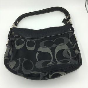 COACH Zoe Black Signature Hobo Bag